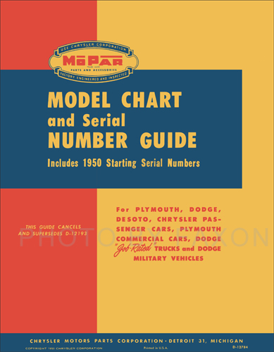 1914-1950 MoPar Model Chart and Serial Number Guide Reprint