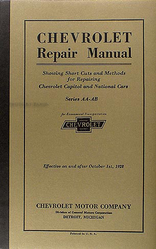 Chevy Parts  Printed Material  Shop Manual  Chevs of