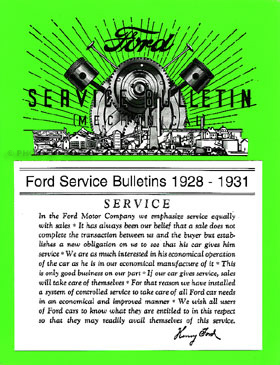 Ford Model A Service/Repair Bulletins Manual 1928-1931 Reprint Softcover