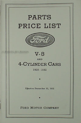 1928-1932 Ford Mechanical Parts Book Reprint