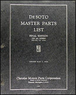 1928-1933 De Soto Master Parts Book Original
