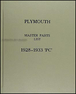 1928-1933 Plymouth Illustrated Master Parts Book Original
