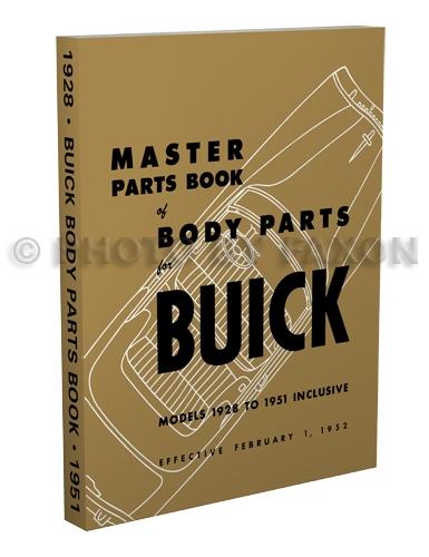 1942 1951 Buick Body Parts Book Reprint