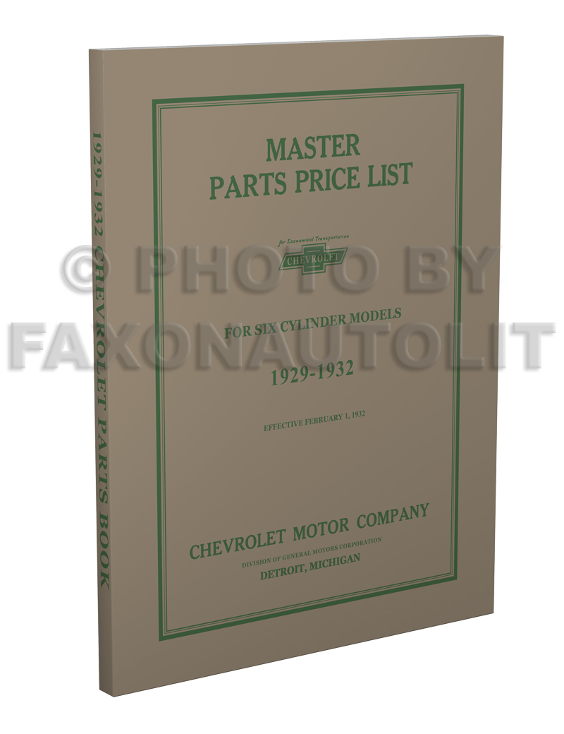 1929-1932 Chevrolet Master Parts Book Reprint