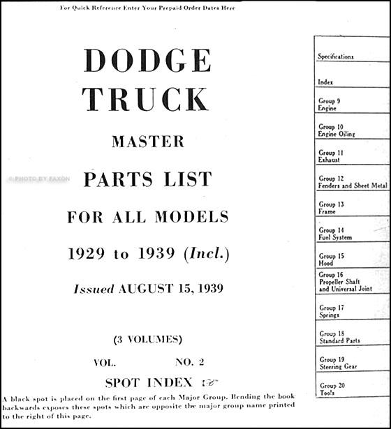1914 1916 Dodge Brothers Parts Book Original: 1929-1939 Dodge Truck Master Parts Book Original 3 Vol. Set