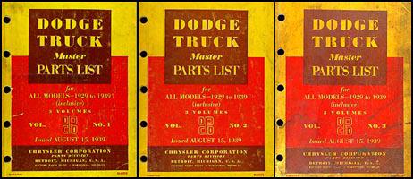 1929-1939 Dodge Truck Master Parts Book Original 3 Vol. Set