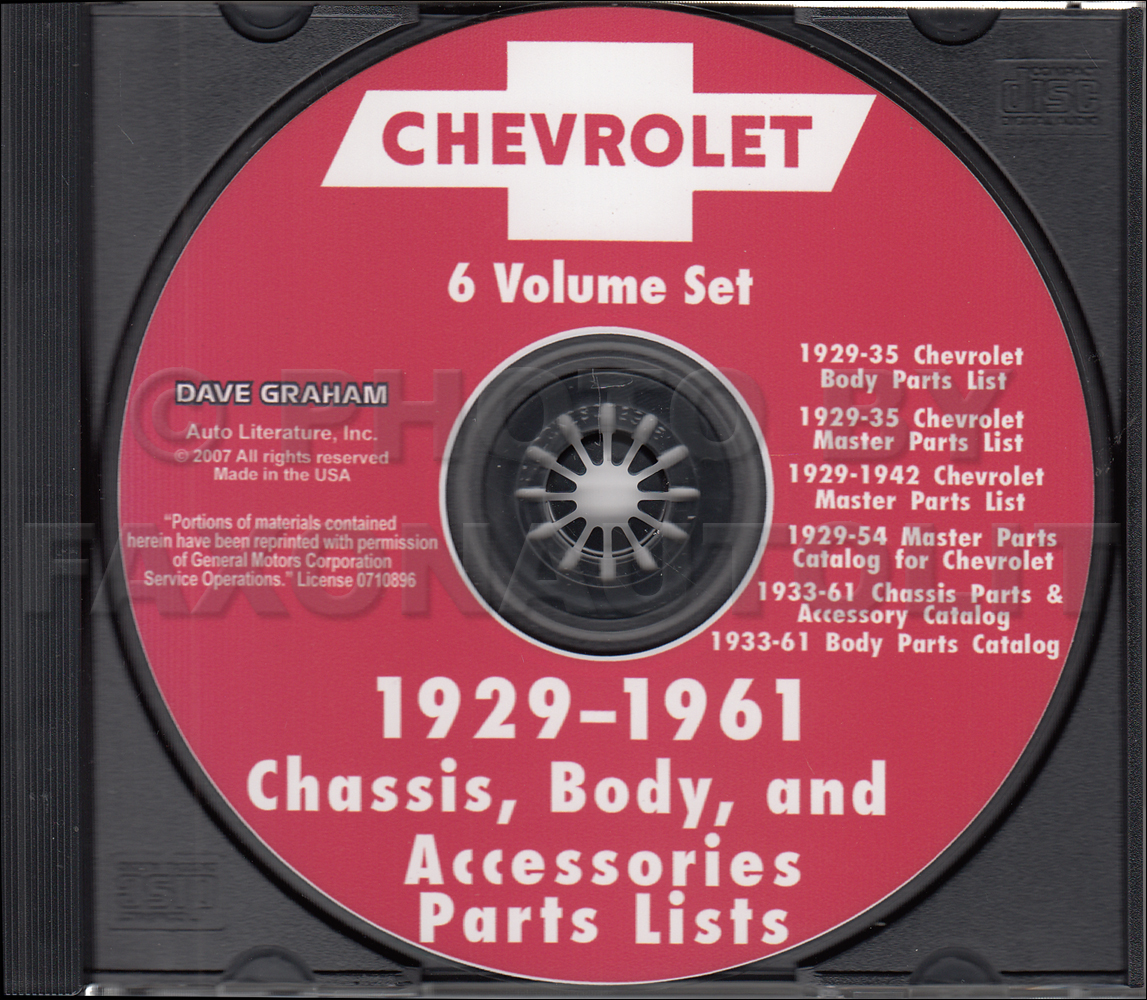 1946-1961 Chevrolet Illustrated Parts Book CD Car