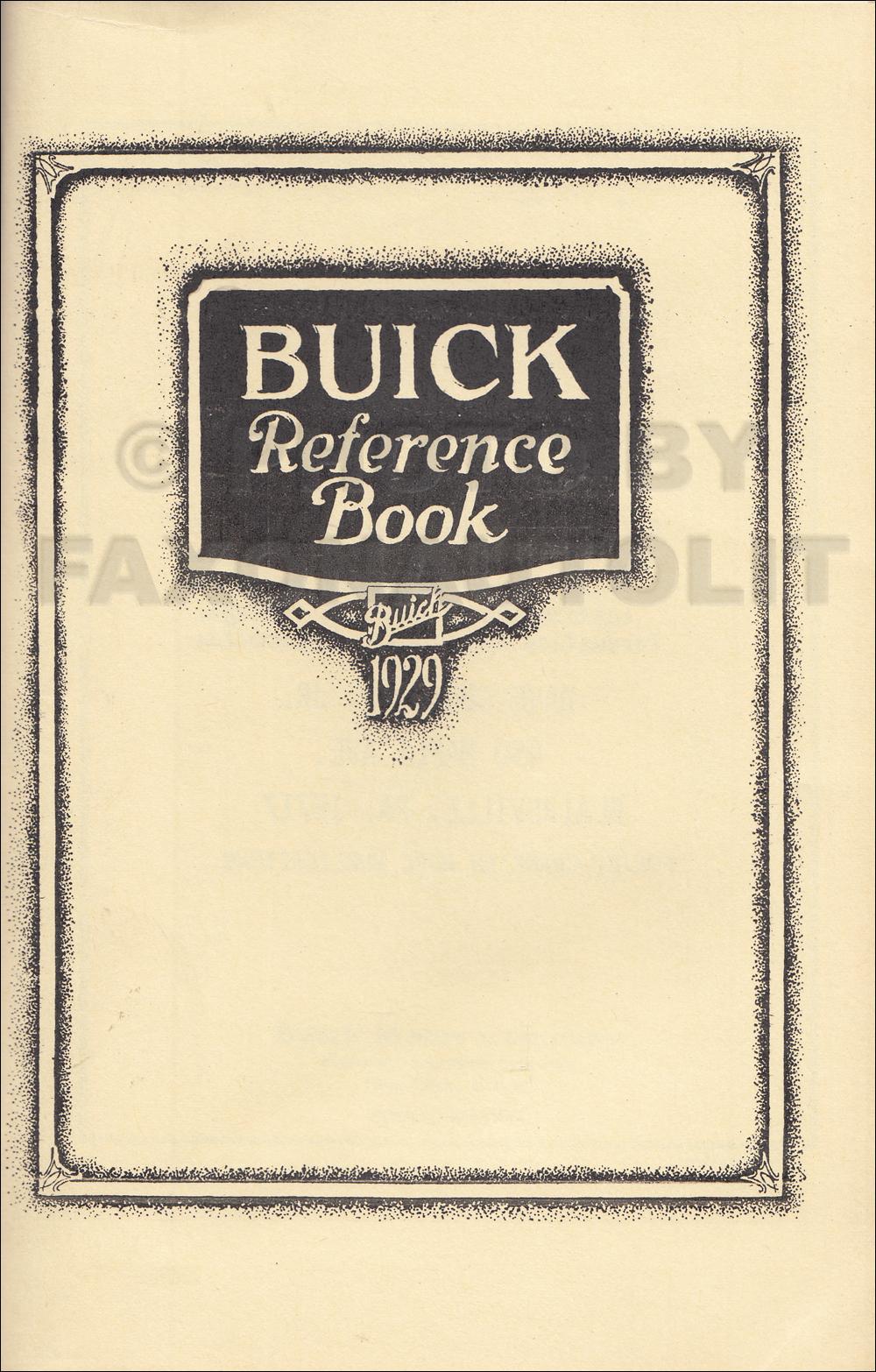 1929 buick owner s manual reprint rh faxonautoliterature com buick owners manual pdf buick regal owner's manual