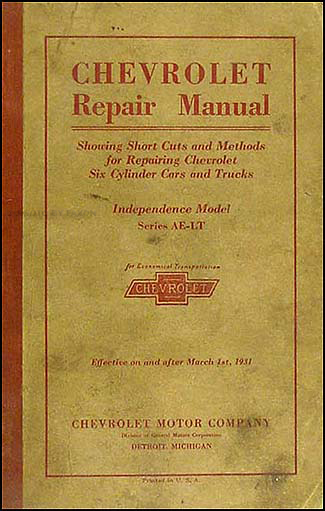 1931 Chevrolet Car & Truck Shop Manual Original