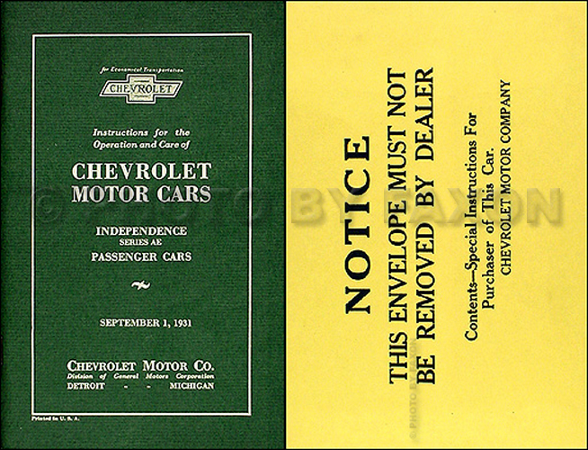 1931 Chevrolet Car Reprint Owner's Manual Package