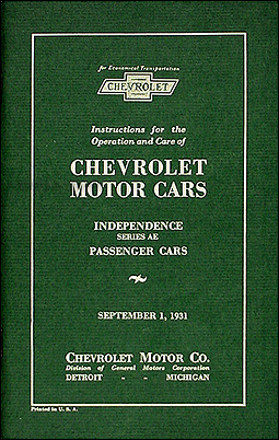 1931 Chevrolet Car Reprint Owner's Manual
