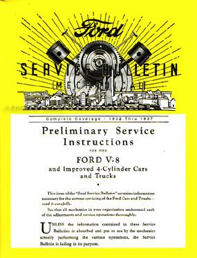 1932-1937 Ford Service Bulletins Repair Manual Reprint Softbound