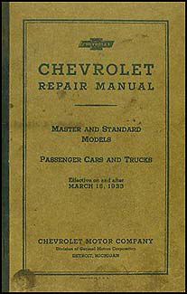 1933 Chevrolet Repair Shop Manual Original Master & Standard Car Pickup Truck