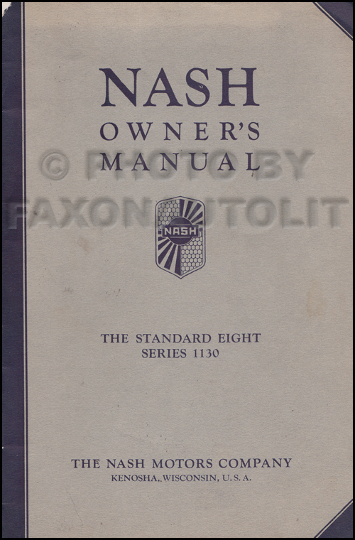 1933 Nash Standard Eight Owner's Manual Original