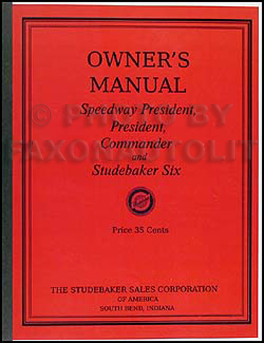 1933 Studebaker Car Owner's Manual Reprint