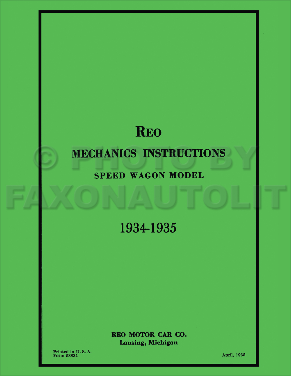 1951 Reo Wiring Diagram Another Blog About Ford 1910 Tractor 1934 1935 Speedwagon Repair Shop Manual Set Reprint Rh Faxonautoliterature Com