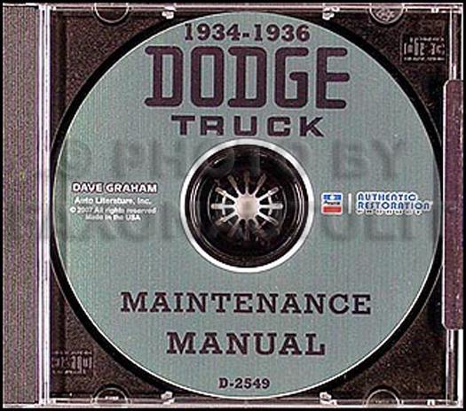 1934-1936 Dodge Truck Shop Manual on CD-ROM