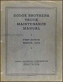 1934 Dodge Truck Repair Manual Original