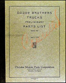 1934-1935 Dodge Truck Preliminary Original Parts Book