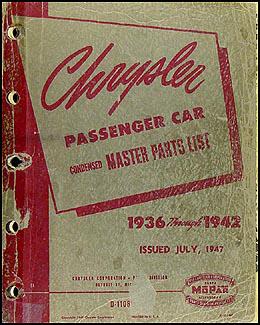 1936-1942 Chrysler Master Parts Book Original
