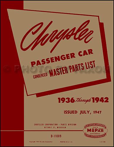 1936-1942 Chrysler Master Parts Book Reprint