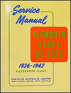 1936-1942 EXPORT Dodge Plymouth DeSoto Repair Manual Reprint