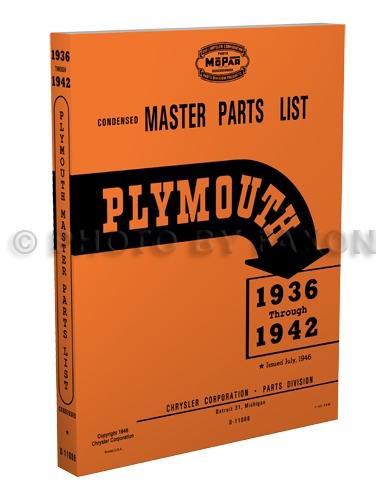 1936-1942 Plymouth Master Parts Book Reprint