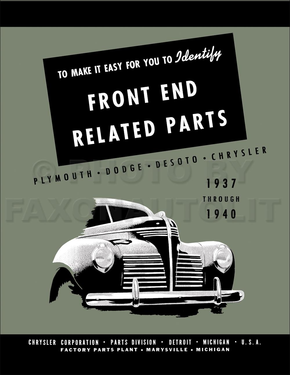 1937-1940 MoPar Front End Body Parts Book Reprint