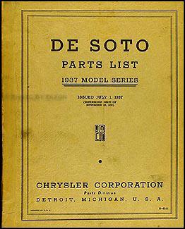 1937 De Soto Parts Book Original