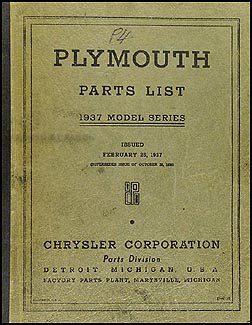 1937 Plymouth Parts Book