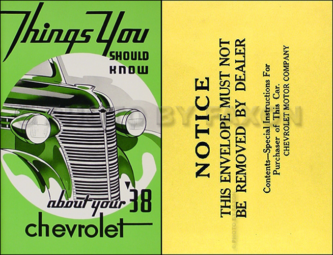 1938 Chevrolet Car Owner's Manual Reprint Package Chevrolet