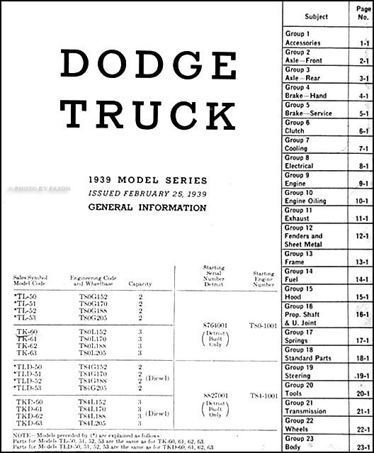1914 1916 Dodge Brothers Parts Book Original: 1939 Dodge Truck 2 To 3 Ton Series Parts Book Original T50
