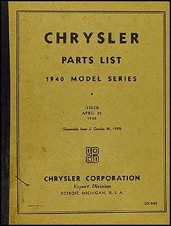 1940 Chrysler Parts Book Original
