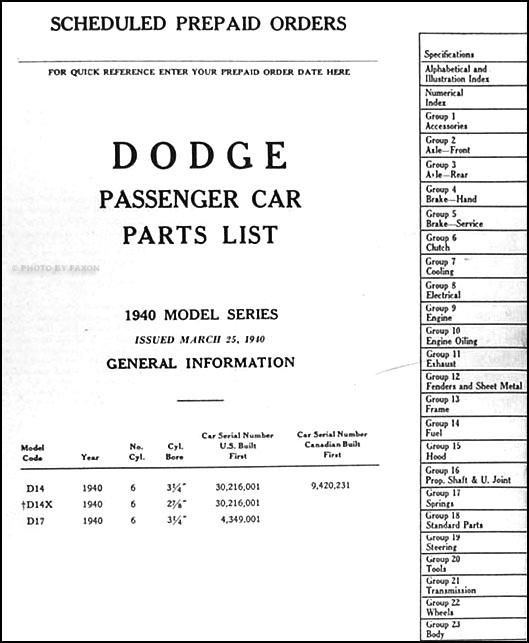 1914 1916 Dodge Brothers Parts Book Original: 1940 Dodge Car Parts Book Original
