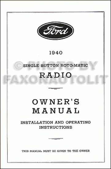 1962 ford radio wiring diagram 1940 ford radio reprint owner s manual installation #9