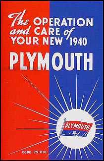 1940 Plymouth Owners Manual Reprint Plymouth