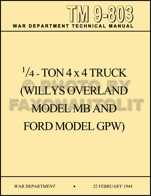 1941 1945 willys mb ford gpw military jeep repair shop manual reprint related items
