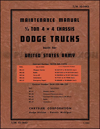 1941 47DodgeWSeriesMilitaryRRM 1941 1947 dodge military wc � ton truck repair shop manual reprint Basic Electrical Wiring Diagrams at eliteediting.co