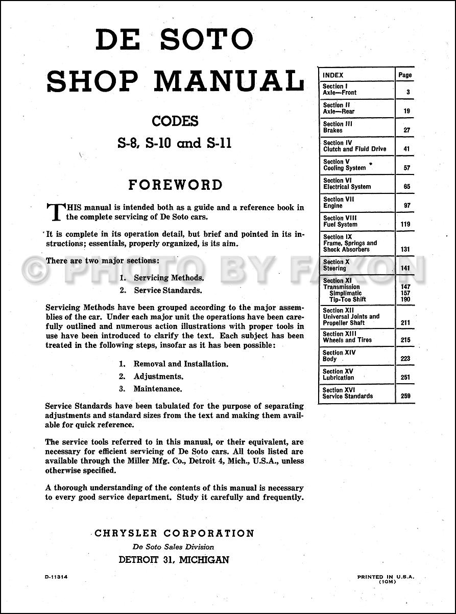 1941 1948 desoto factory repair shop manual reprint Ford Mustang Ignition