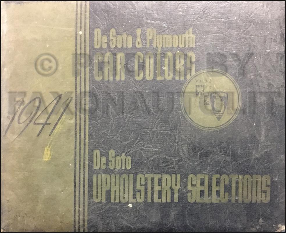1941 Desoto And Plymouth Color & Upholstery Dealer Album Original $44900