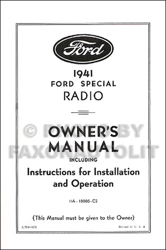 1941 ford radio reprint owner u0026 39 s manual with installation