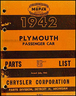 1942 Plymouth Car Parts Book Original