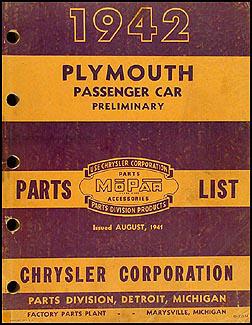 1942 Plymouth Preliminary Parts Book Original