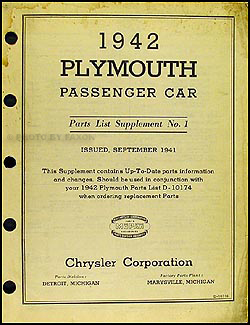 1942 Plymouth Car Original Parts List Supplement No. 1