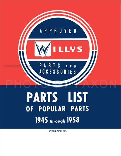 1945-1958 Jeep Parts List of Popular Parts and Accessories Reprint