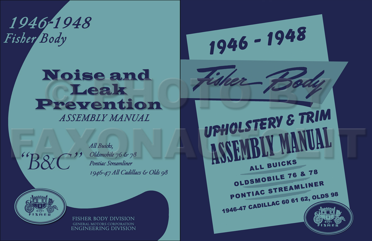 1946 1948 fisher body assembly manual set buick cadillac, olds 76