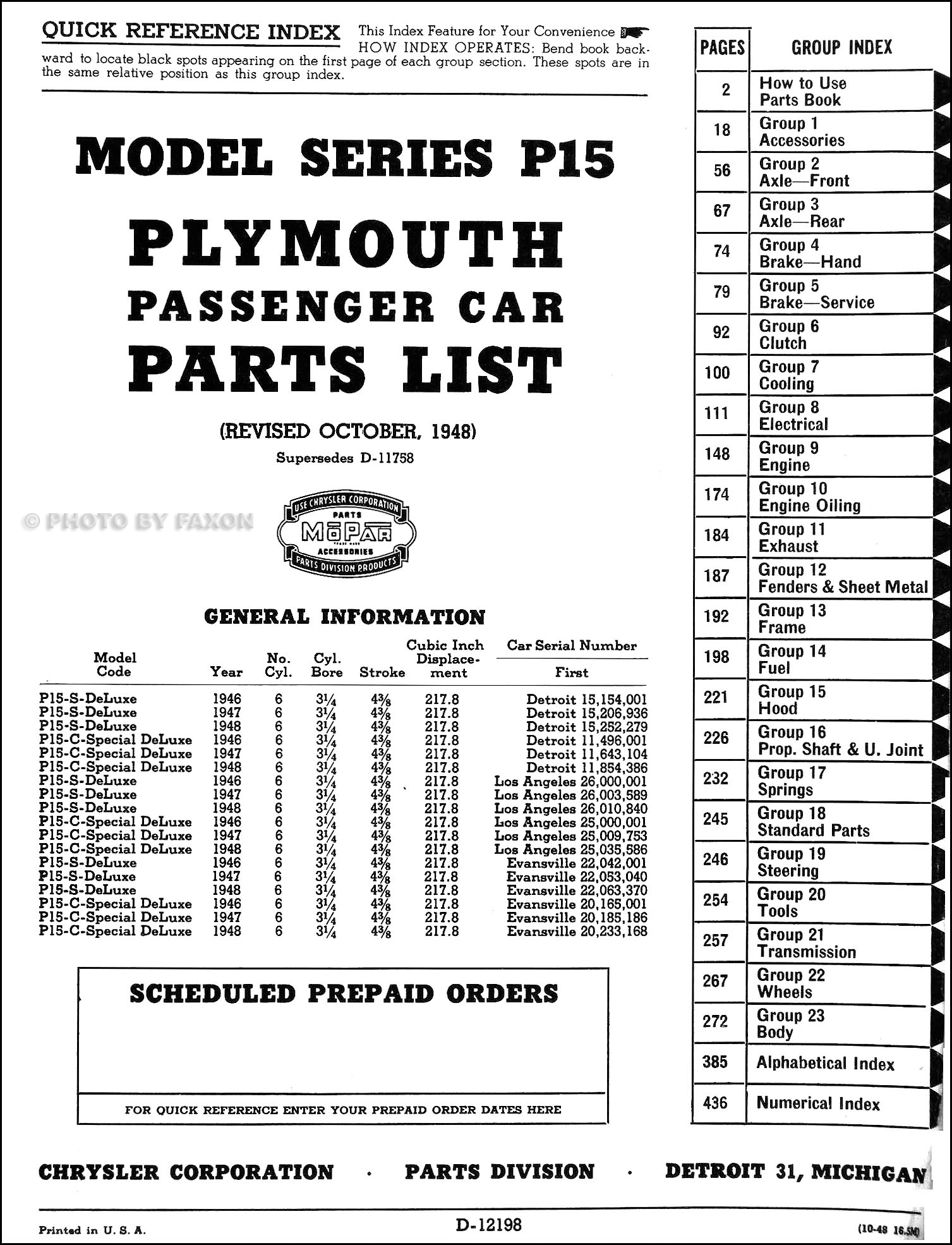 1946 1948 Plymouth Parts Book Original