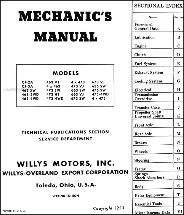 1946 53WillysUtilityRRM TOC 1946 1953 willys repair shop manual reprint jeepster, cj, truck 1949 willys jeepster wiring diagram at n-0.co