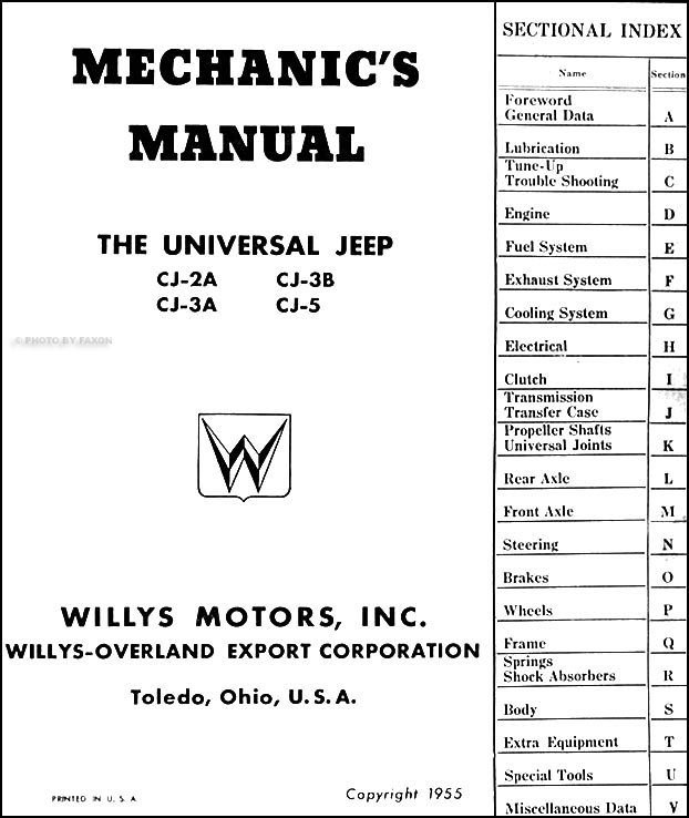 1946 55WillysCJORM TOC 1946 1955 willys jeep cj repair shop manual original cj 2a cj 3a willys cj5 wiring diagram at crackthecode.co