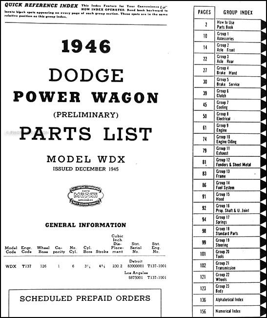 1914 1916 Dodge Brothers Parts Book Original: 1946 Dodge Power Wagon Preliminary Parts Book Original